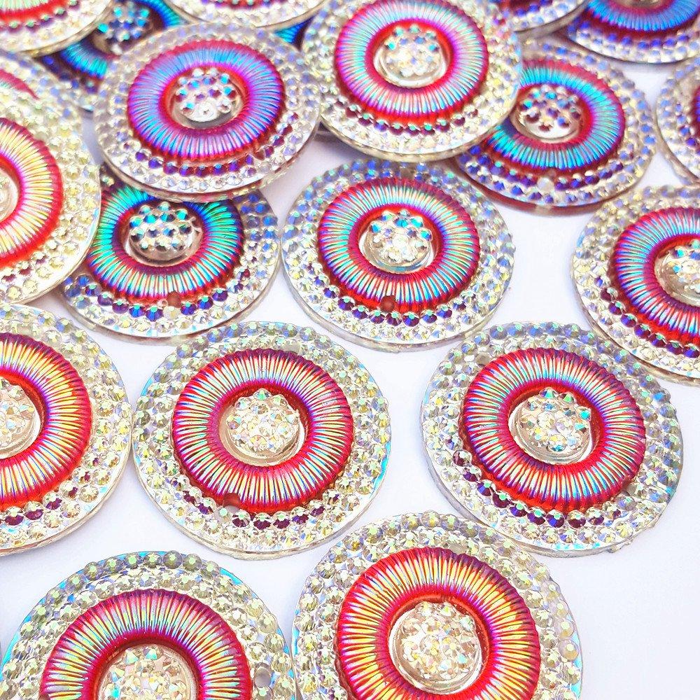 美しいBigビーズ25 mmレッドABラウンドカラーSew On裁縫ラインストーンDIYウェディングドレスアクセサリー30pcs B074TZRH7Y