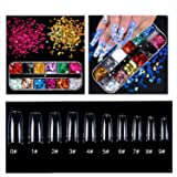 Clear Acrylic Nail Tips, OUZIGRT 500pcs Clear French Acrylic Style Artificial False Nails Tips 10 Sizes with 12 Color 3D…