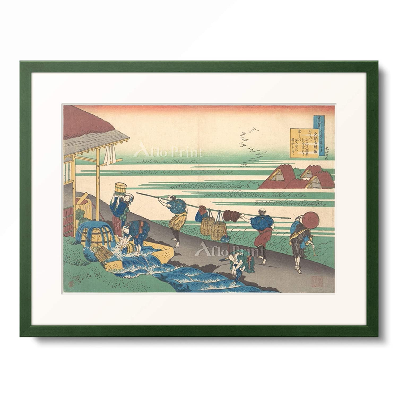 葛飾北斎 Katsushika Hokusai 「百人一首 うばがゑとき 大納言経信」 額装アート作品 S(額内寸 255mm×203mm) 12.木製額 13mm(緑) B07PTYSGRG
