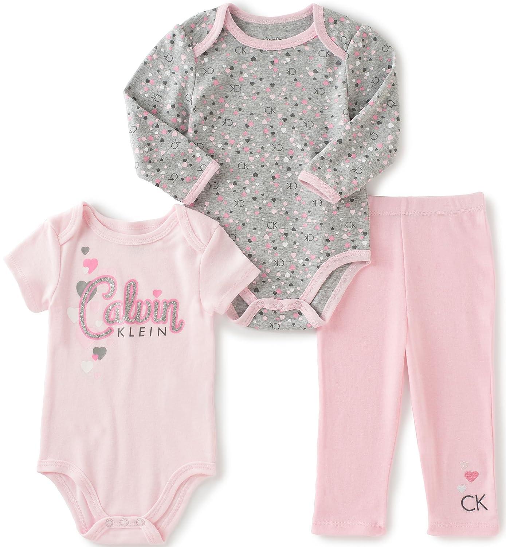 Amazon Calvin Klein Baby Girls 3 Piece Creeper Pants Set Clothing