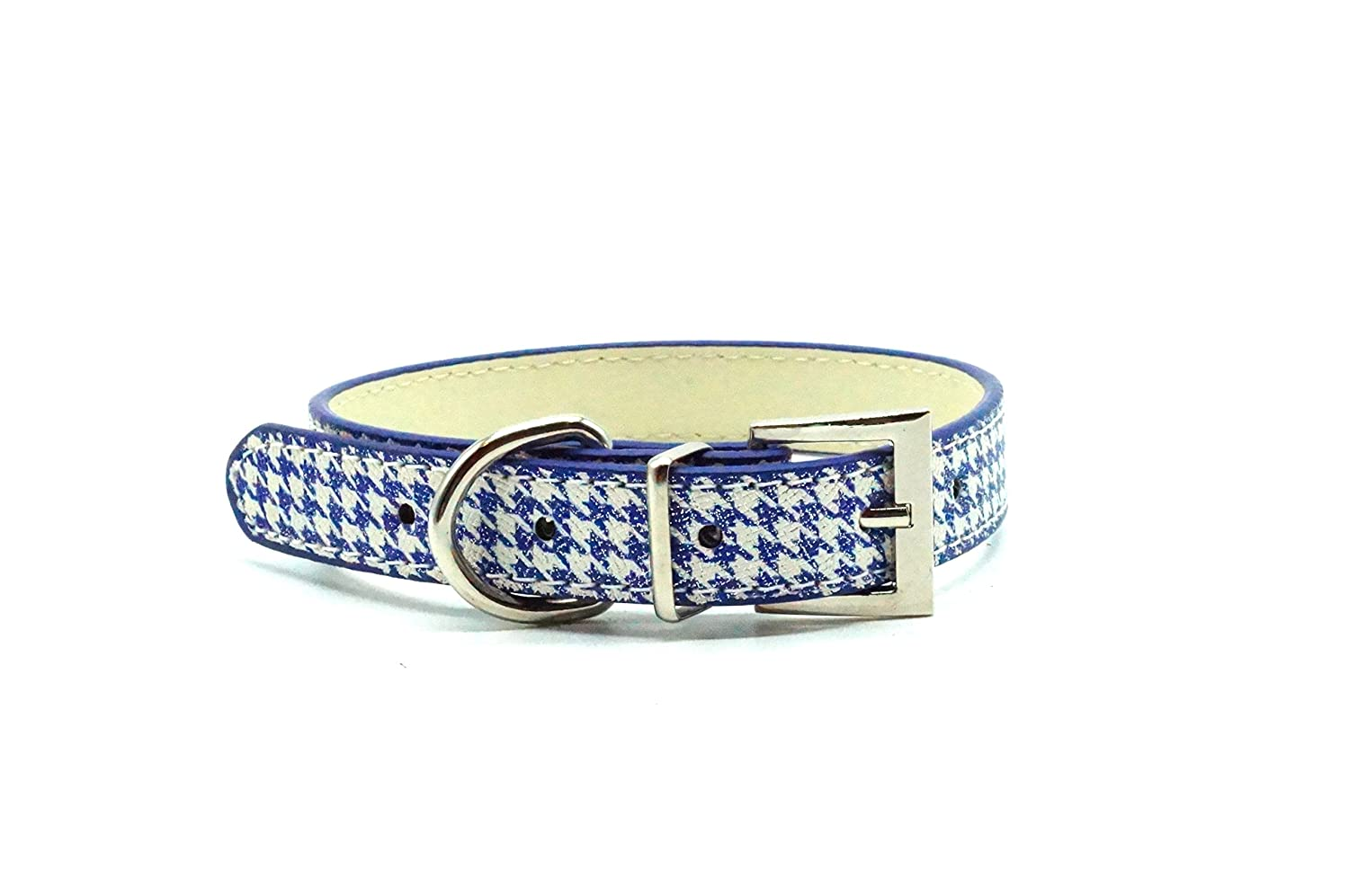 blueE M blueE M Classic Houndstooth Dog Collar (M, blueE)