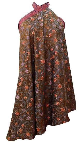 Falda de flores de la sari de seda vintage pura impresión Hippie ...