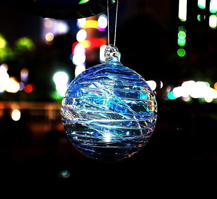 Artisan Crafts and Design 6-Inch Solar Powered Hanging Spider Web Glass Gazing Ball Outdoor Garden Decoration (Aqua)