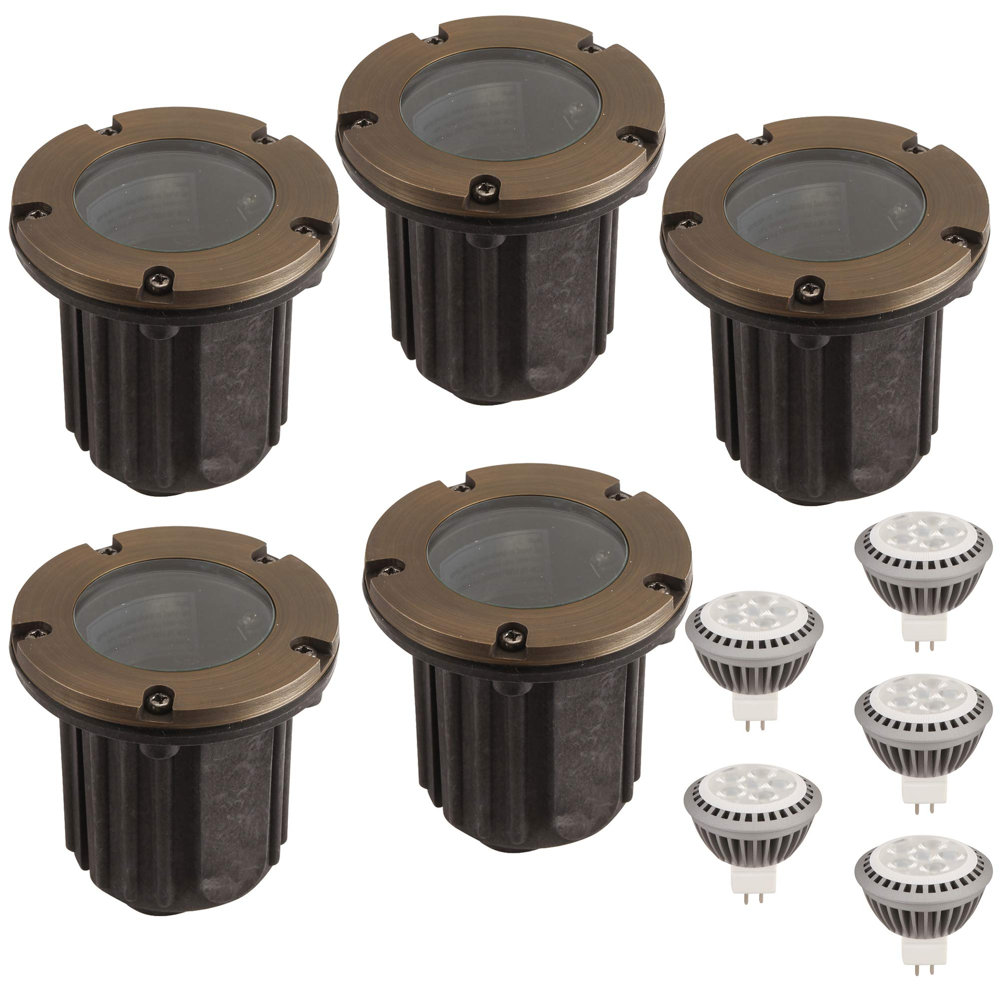 LFU Pack of 5 Solid Cast Brass Constructed Well/In Ground Lights. with 5 LED MR16 3W LED Bulbs. 2700K Warm White. Low Voltage AC DC. Model LF3001AB Vancouver. by Lighting Factory USA
