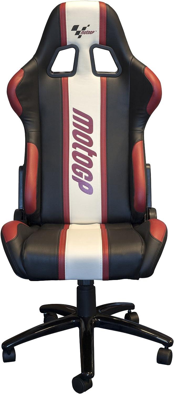 Chaise Pivotante Inclinable Paddock MotoGP Cuir Blanc Noir Rouge