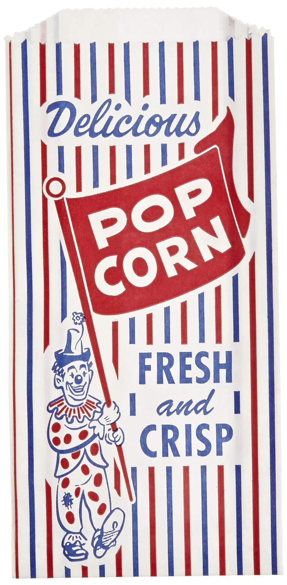 Bagcraft Papercon 300471 Pinch Bottom Popcorn Bag with Clown Design, 1-lb Capacity, 8'' Length x 4'' Width x 1-1/2'' Height (Case of 1000)