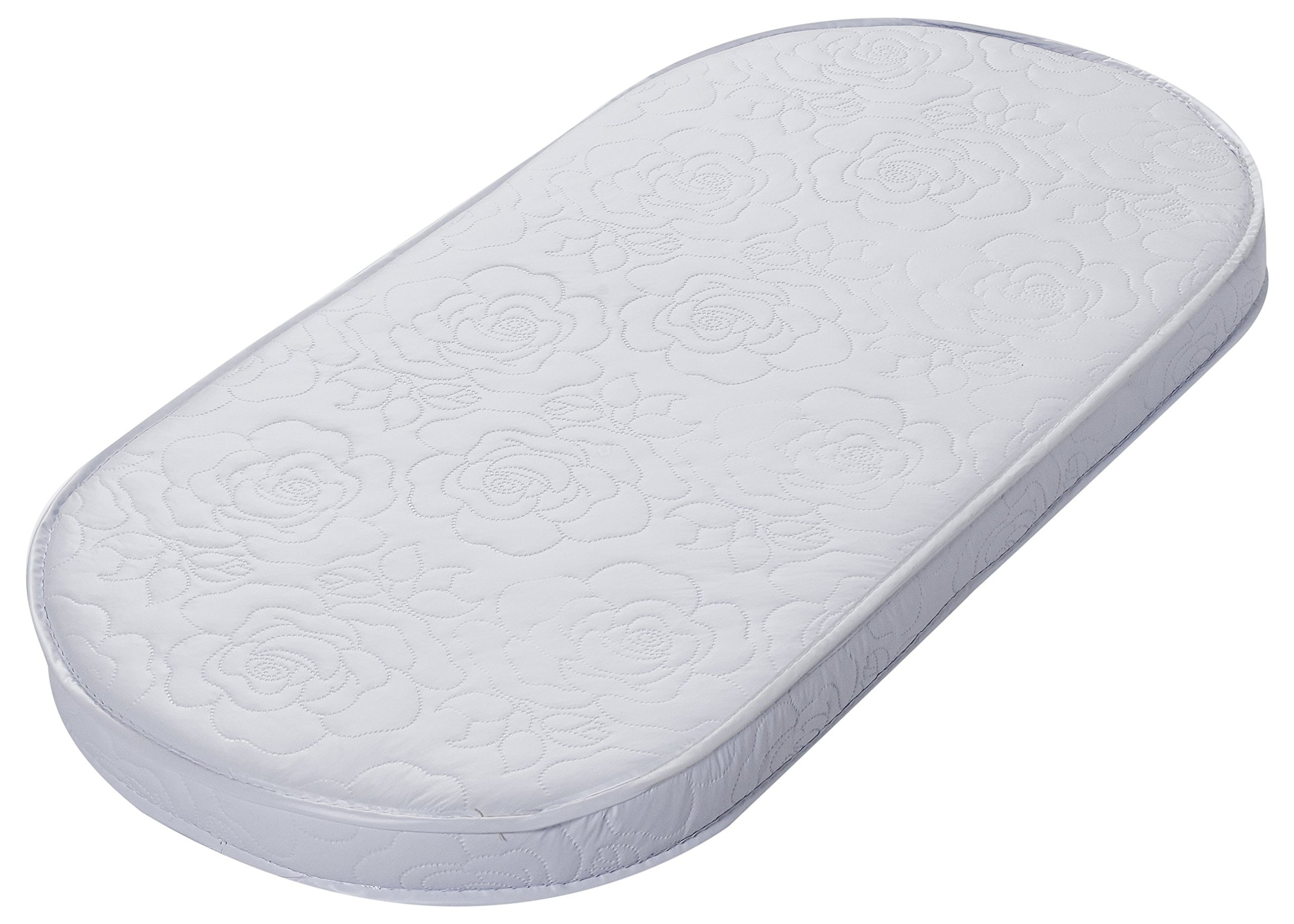 Big Oshi Waterproof Oval Baby Bassinet Mattress - Waterproof Exterior - Thick, Soft, Breathable Foam Interior - Comfy, Padded Design, Also Fits Portable Bassinets - 15'' x 30'' x 2'' by Big Oshi