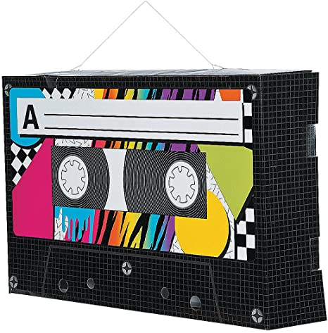 SET OF 12 CASSETTE TAPE METALLIC WHIRLS PARTY DECORATION