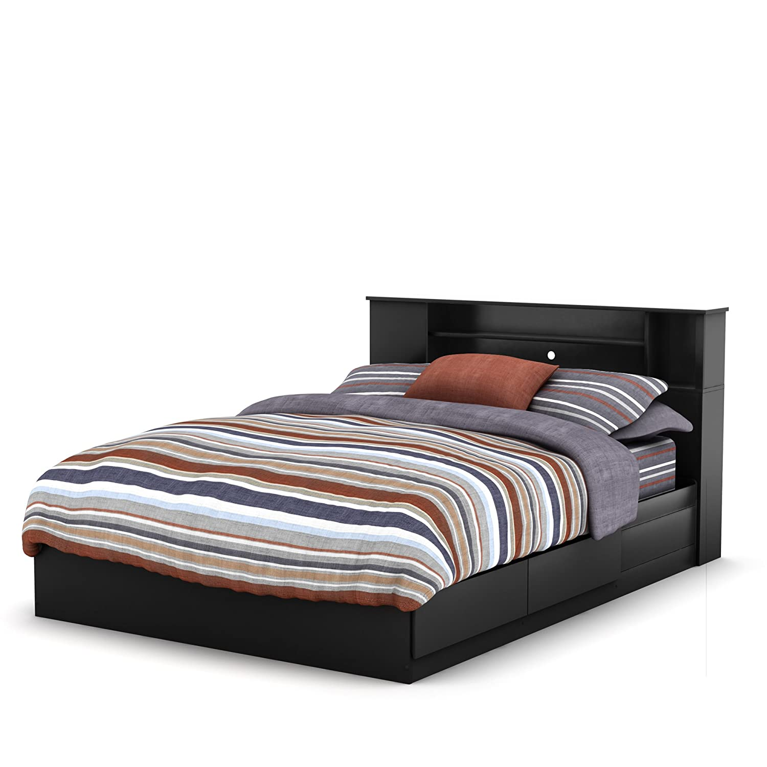 amazoncom south shore vito collection queen 60inch mates bed black kitchen u0026 dining