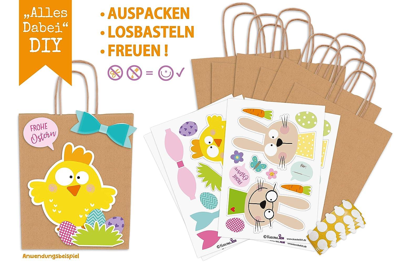 KuschelICH Ostert/üten mit Henkel Osterhase K/üken braun DIY Geschenkt/üten Osternest zum selber Bef/üllen