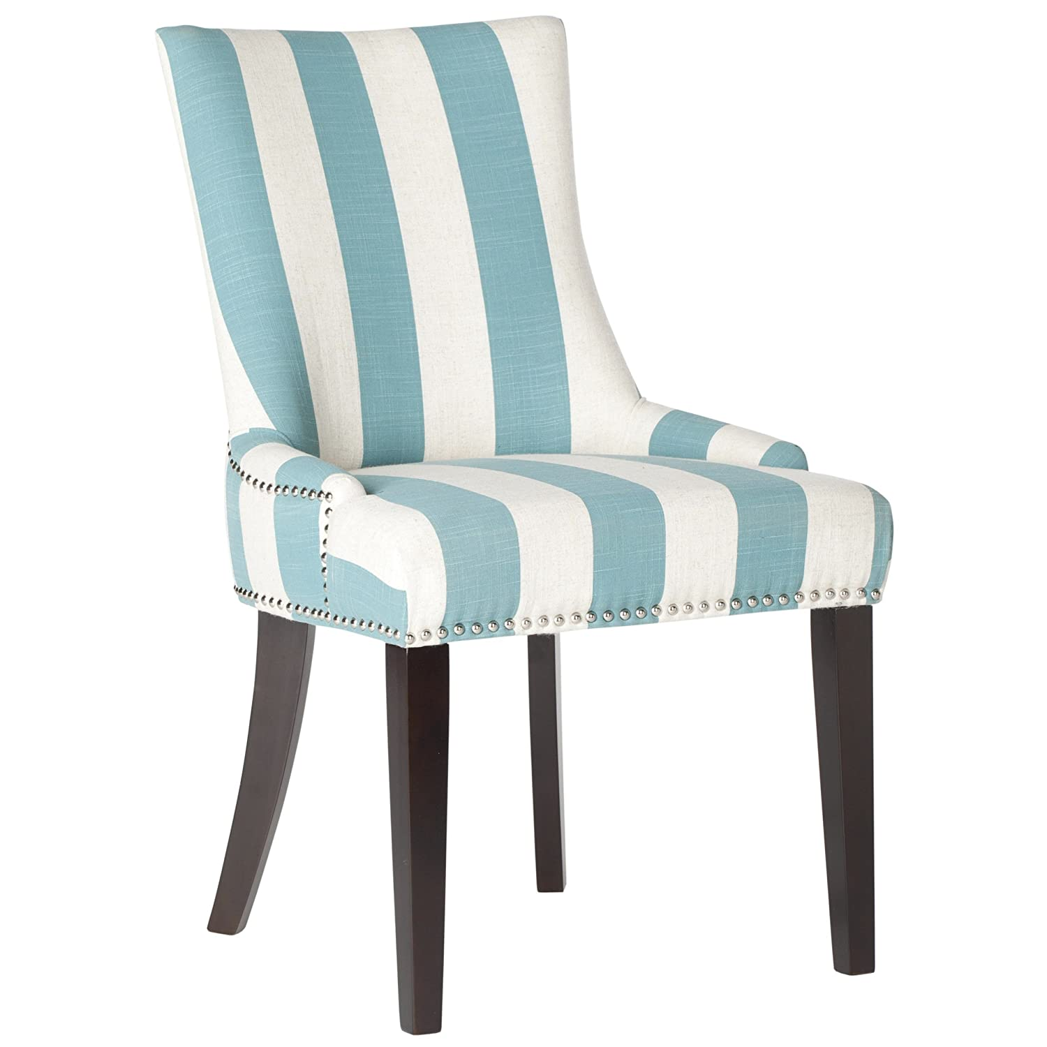Amazon.com   Safavieh Mercer Collection Lester Dining Chair, Aqua Blue And  White Stripe, Set Of 2   Chairs