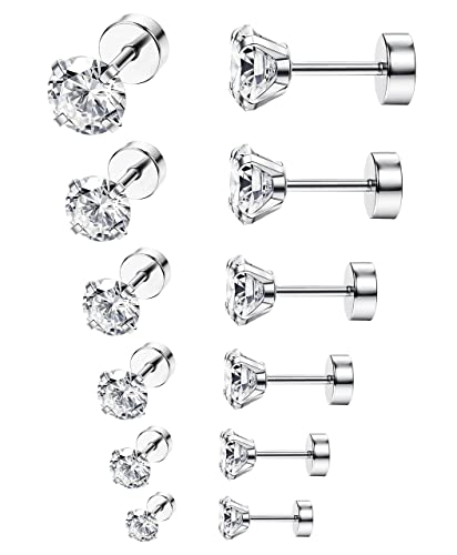 d7d2144e9 Amazon.com: ORAZIO 6 Pairs 18G Stainless Steel Ear Stud Piercing Barbell  Studs Earrings Round Cubic Zirconia Inlaid: Jewelry