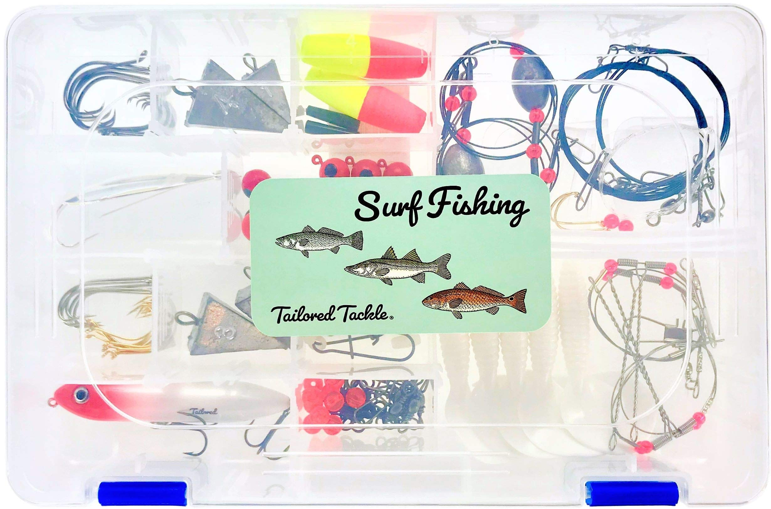 Tailored Tackle Saltwater Surf Fishing Kit 82 Pc Tackle Box with Tackle Included | Surf Fishing Rigs & Saltwater Fishing Lures | Hooks Leaders Swivels for Salt Beach Gear Equipment by Tailored Tackle