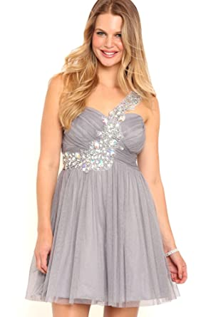Deb Junior One Shoulder Short Prom Dress with Stone Trim Strap Silver 13