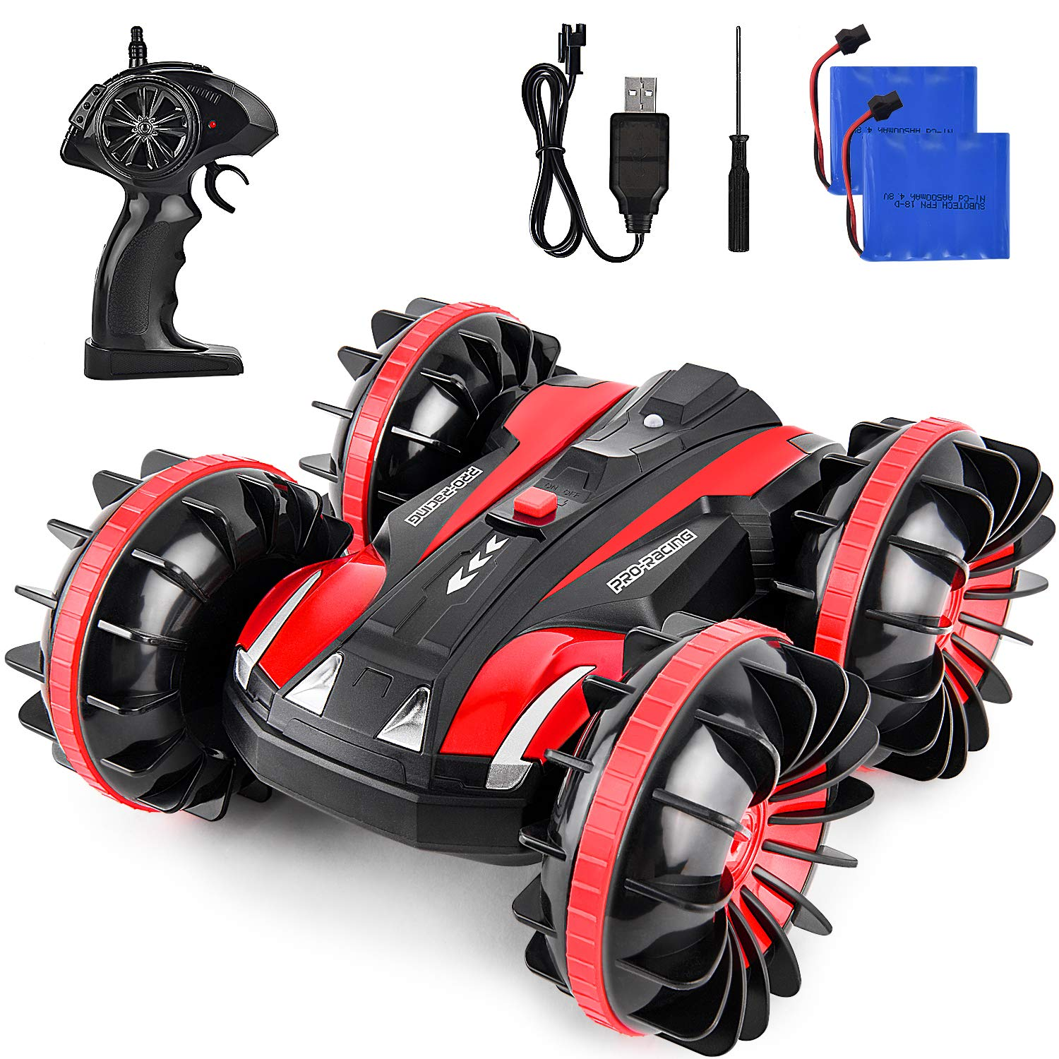Waterproof RC Cars for Kids Remote Control Car Boat RC Truck Amphibious Stunt Car 4WD Off Road 2.4GHz Radio Controlled Vehicle 360 Degree Rotates Toys for 7-16 Year Old Boys Girls Birthday Gift Red by ROOYA BABY (Image #1)