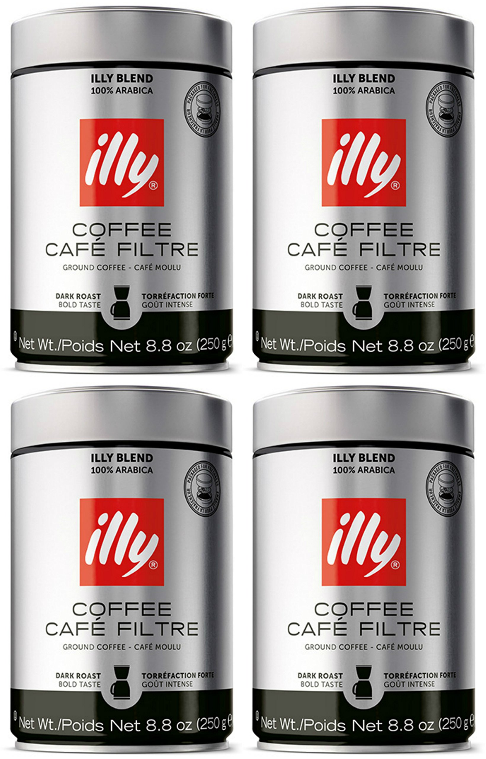 illy Caffe Scuro Drip Grind (Dark Roast, Brown Band), 8.8-Ounce Tins (4 Pack)