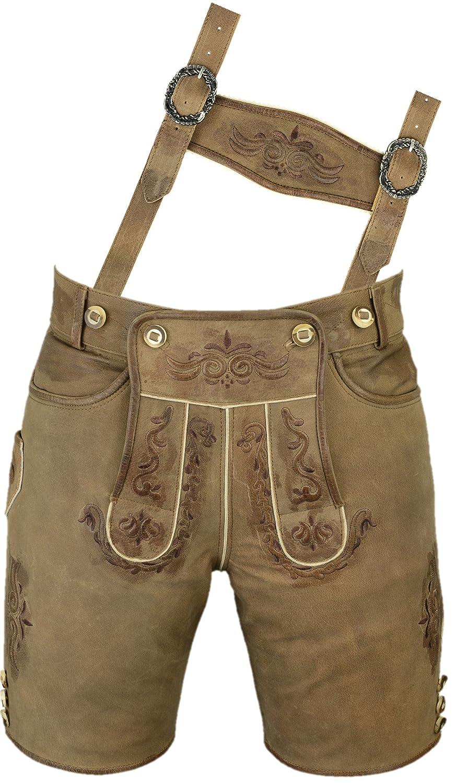 Lederhose mit Träger, echt Leder Trachtenlederhose Herren kurz, Damen Trachtenlederhose im Antik Nubuk Karamell