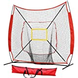 Portable Folding Practice Batting Net Softball Net Baseball Hitting Net with Bow Frame for Hitting, Pitching Backyard