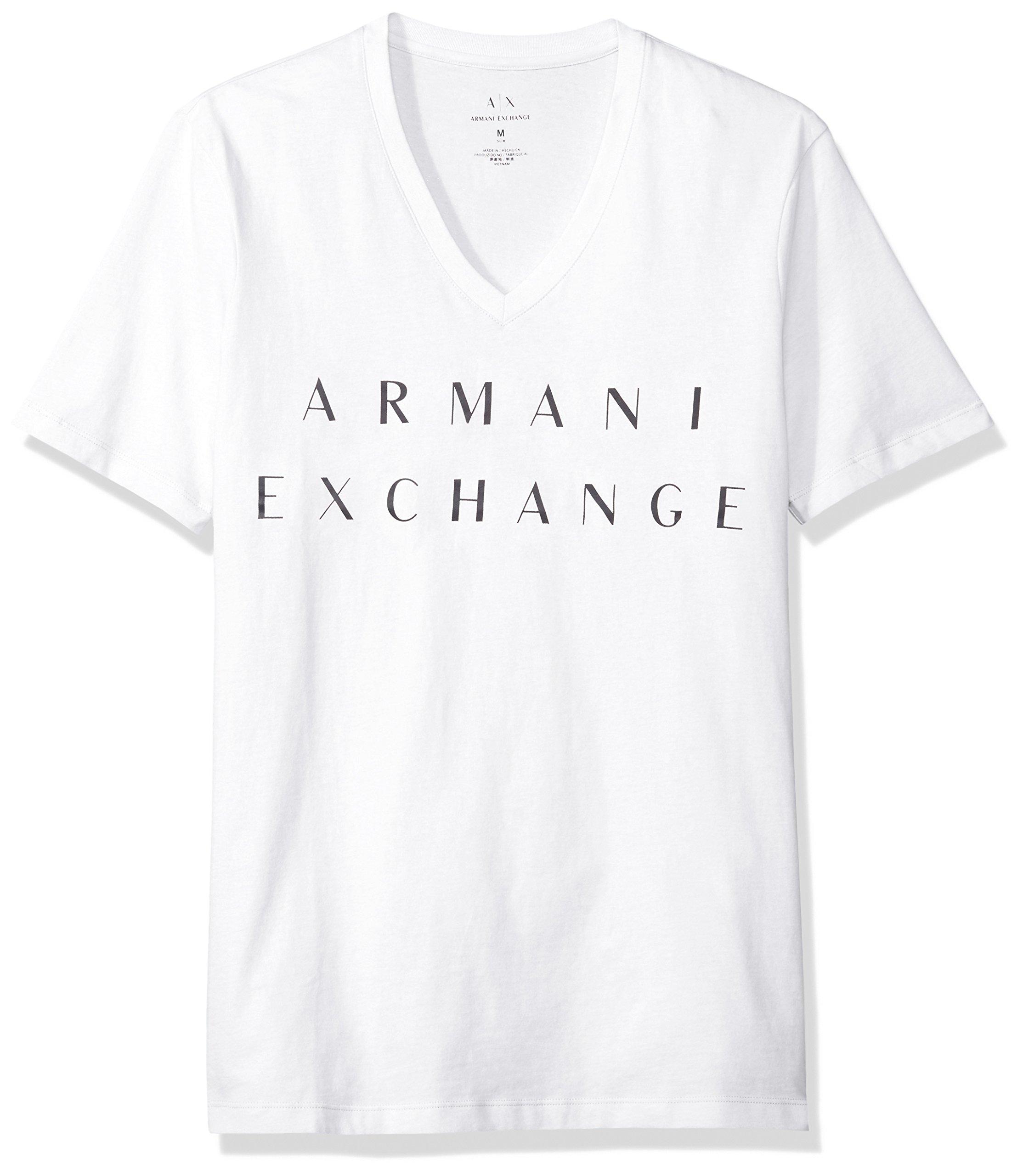 A|X Armani Exchange Men's Basic Logo V Neck Tee, White, X-Large