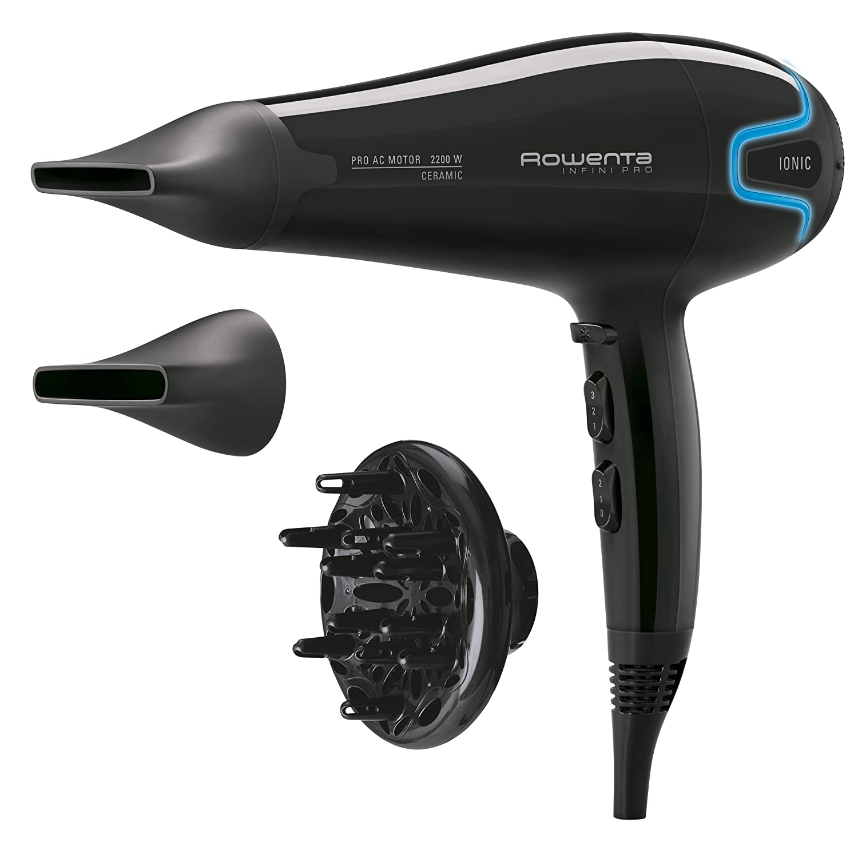 Rowenta CV8730 Infini Pro Asciugacapelli Professionale con Generatore di Ioni, con Diffusore e 2 Beccucci Stretti, 2300 W CV8730E0