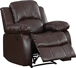 "Homelegance Resonance 40"" Bonded Leather Recliner Chair, Brown"