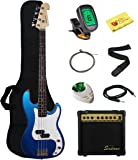 Stedman Beginner Series Bass Guitar Bundle with 15-Watt Amp, Gig Bag, Instrument Cable, Strap, Strings, Picks, and Polishing Cloth - Metallic Blue