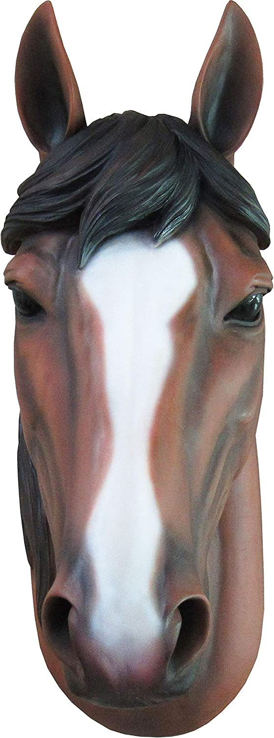 Wall Mounted 15 Inch Mustang Bust Sculpture Wall Art Hand Painted Wall Mount DWK-HD52299