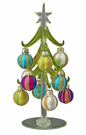 christmas decorations glass christmas tree with jewel tone striped ornaments