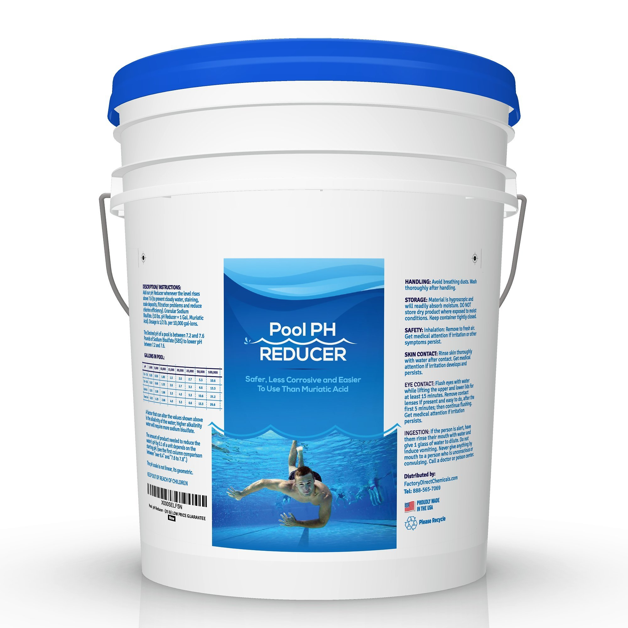 Pool & Spa pH Reducer | pH Down | Sodium Bisulfate | Muriatic Acid Replacement - 25 lb Pail by EcoClean Solutions
