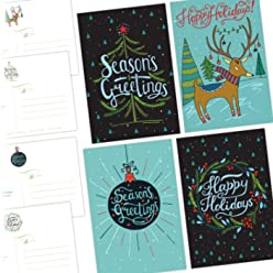 One Jade Lane - Merry Holiday POSTCARDS - 40 Ct Holiday Cards - 4 Designs/10 of each - Heavy Stock - Postage Saver.