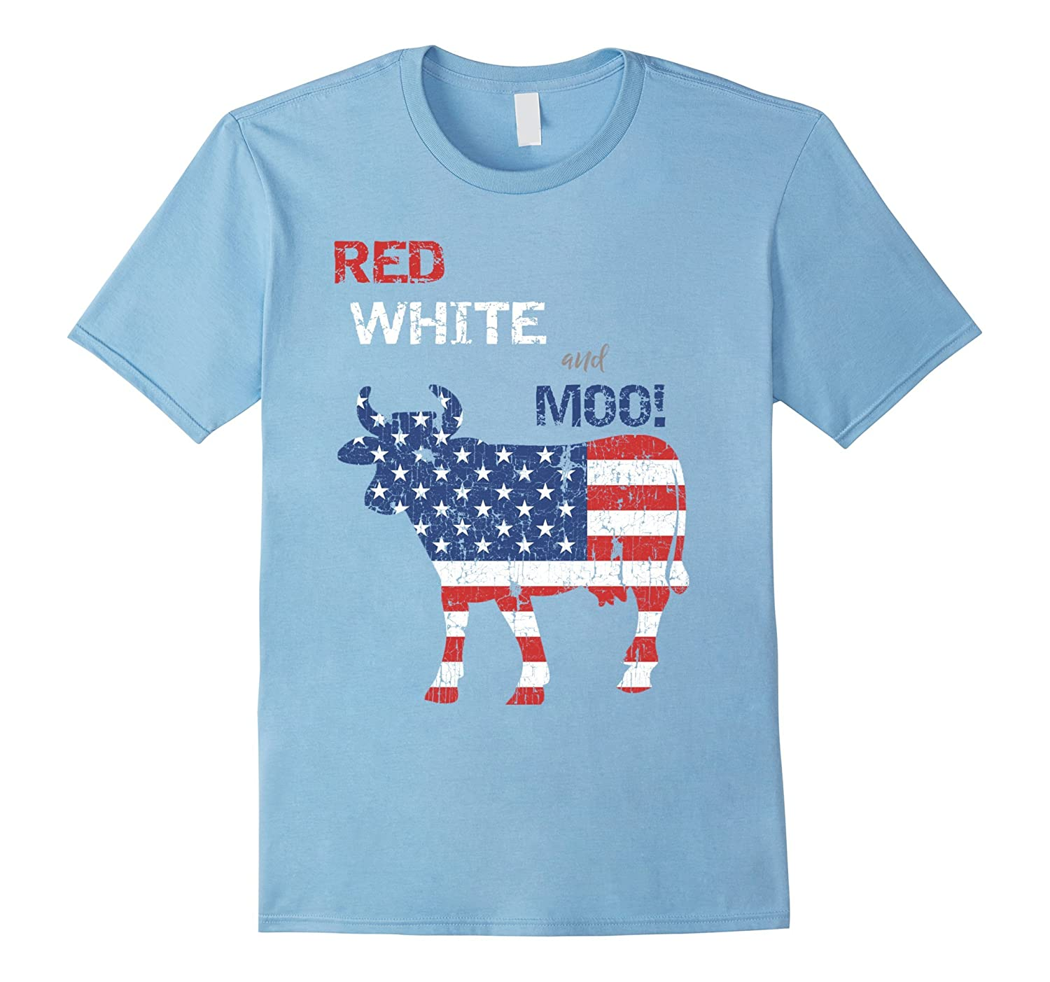 Funny Farmer 4th of July Cow T-Shirt Red White  Moo-PL