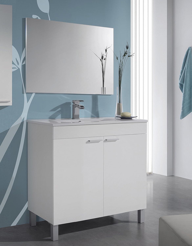 Abitti Mueble Lavabo de baño o Aseo con lavamanos cerámico y Espejo a Juego con Dos Puertas Color Blanco Brillo 80x80x45cm