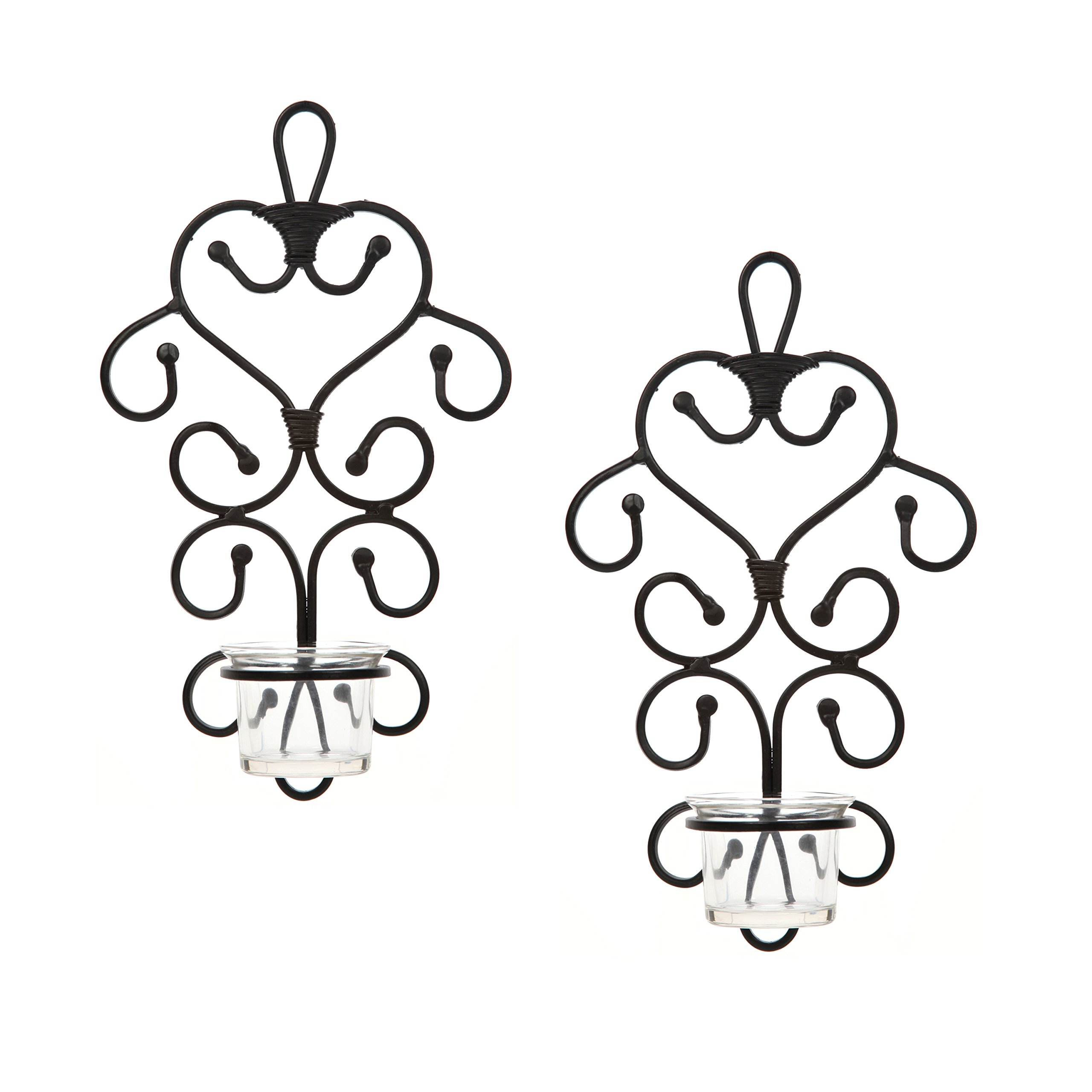 Hosley Set of 2 Iron Wall Art Tea Light Candle Sconces Plaque- 10.6'' High. Ideal Gift for Wedding, Bridal, Party, Reiki, Spa and Aromatherapy Candle Gardens O3