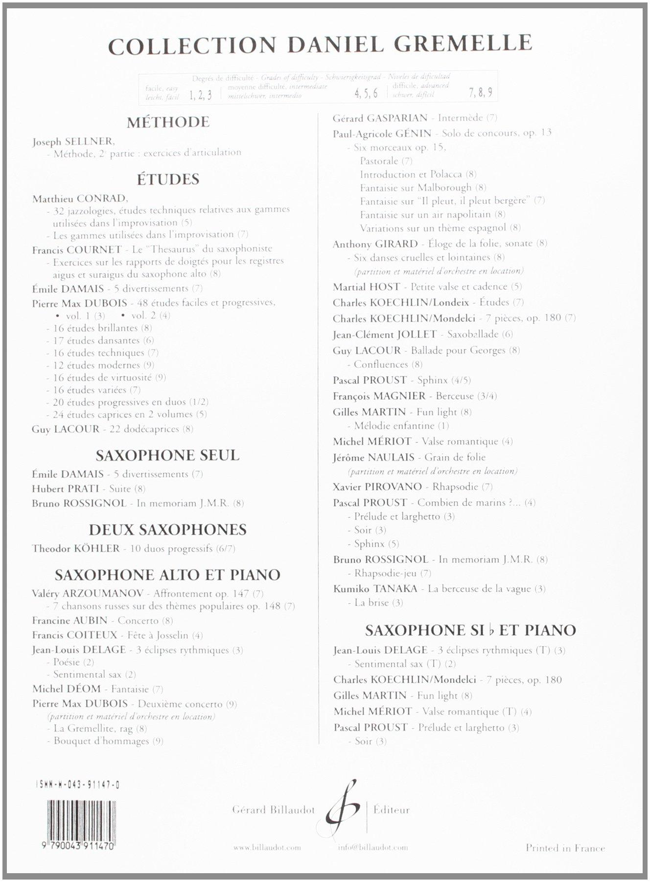 Etudes Op 188 For Alto Saxophone Piano Charles Koechlin