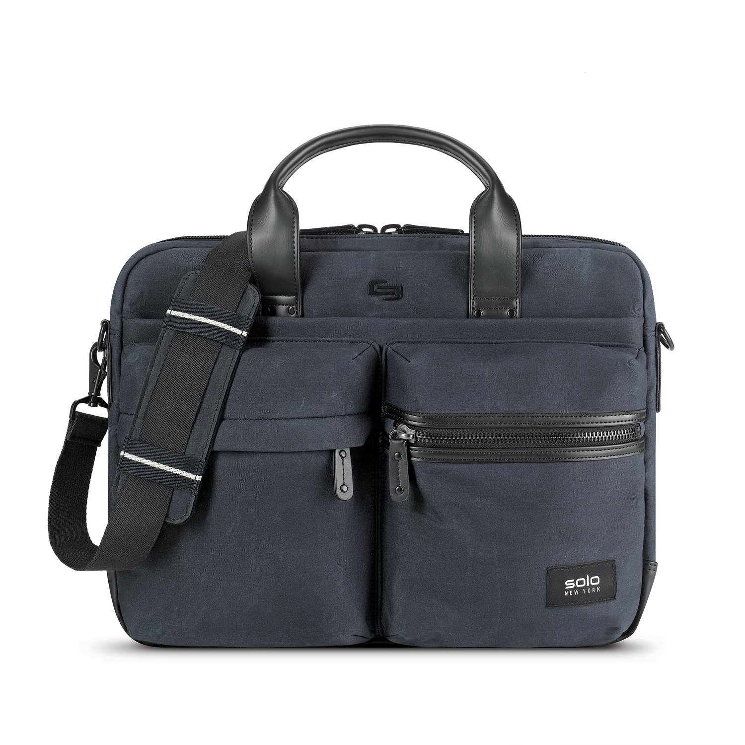 3696a5ac5d9 Amazon.com | Solo Hamish Waxed Canvas Slim Brief, Indigo | Briefcases
