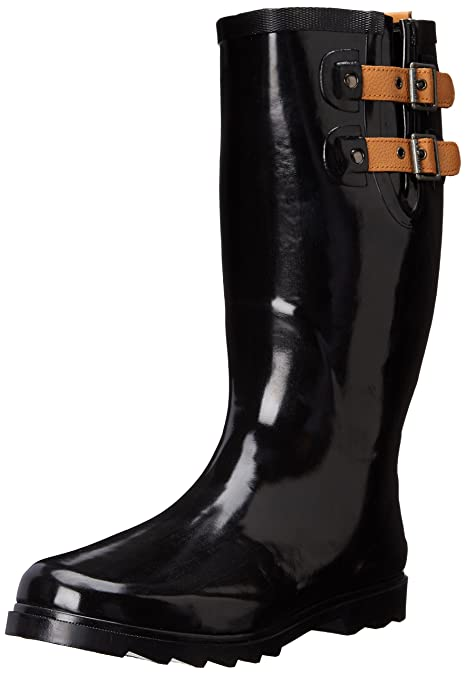 Chooka Women's Top Solid Rain Boot, Black Shiny, ...