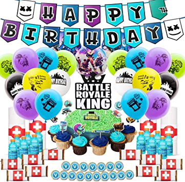 DMight Birthday Party Supplies for Game Fans,Video Game Party Decoration,121 Pcs Party Favors - Cake Topper, Bottle Label, Chocolate Sticker, Latex ...