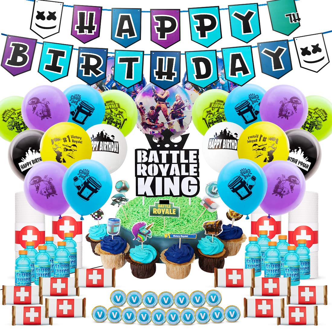 DMight Birthday Party Supplies for Game Fans, 123 Pcs Party Favors - Cake Topper, Bottle Label, Chocolate Sticker, Latex Balloon, Foil Balloon, Roll Paper Sticker, Banner by DMIGHT