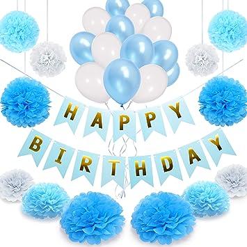 Nextdeko Happy Birthday Geburtstagsdeko Blau Weiss Hochwertige