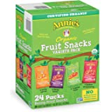 Annie's Organic Bunny Fruit Snacks, Variety Pack, 24 Pouches, 0.8 oz Each, Pack of 24