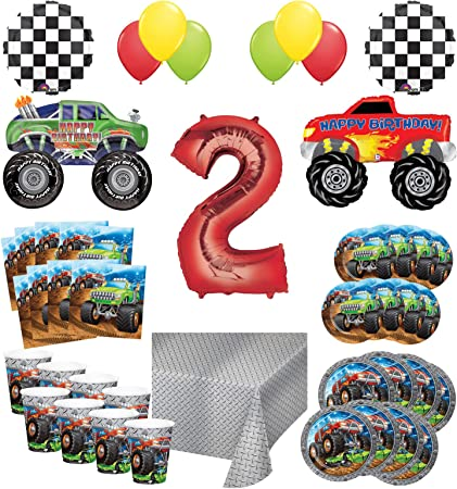 Amazon Com Mayflower Products Monster Truck Rally 2nd Birthday Party Supplies 16 Guest Decoration Kit With Green And Red Monster Truck Balloon Bouquet Toys Games