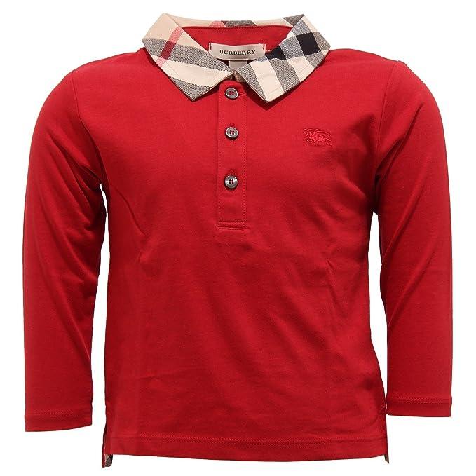 7539T polo bimbo BURBERRY cotone rosso maglia t-shirt polo kid [9 ...