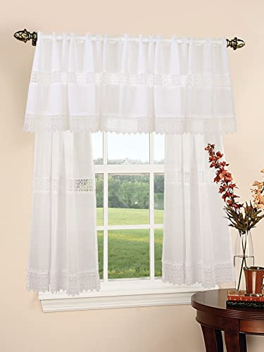 Violet Linen Treasure Lace Design Sheer 3 Piece Kitchen Curtain Set, White