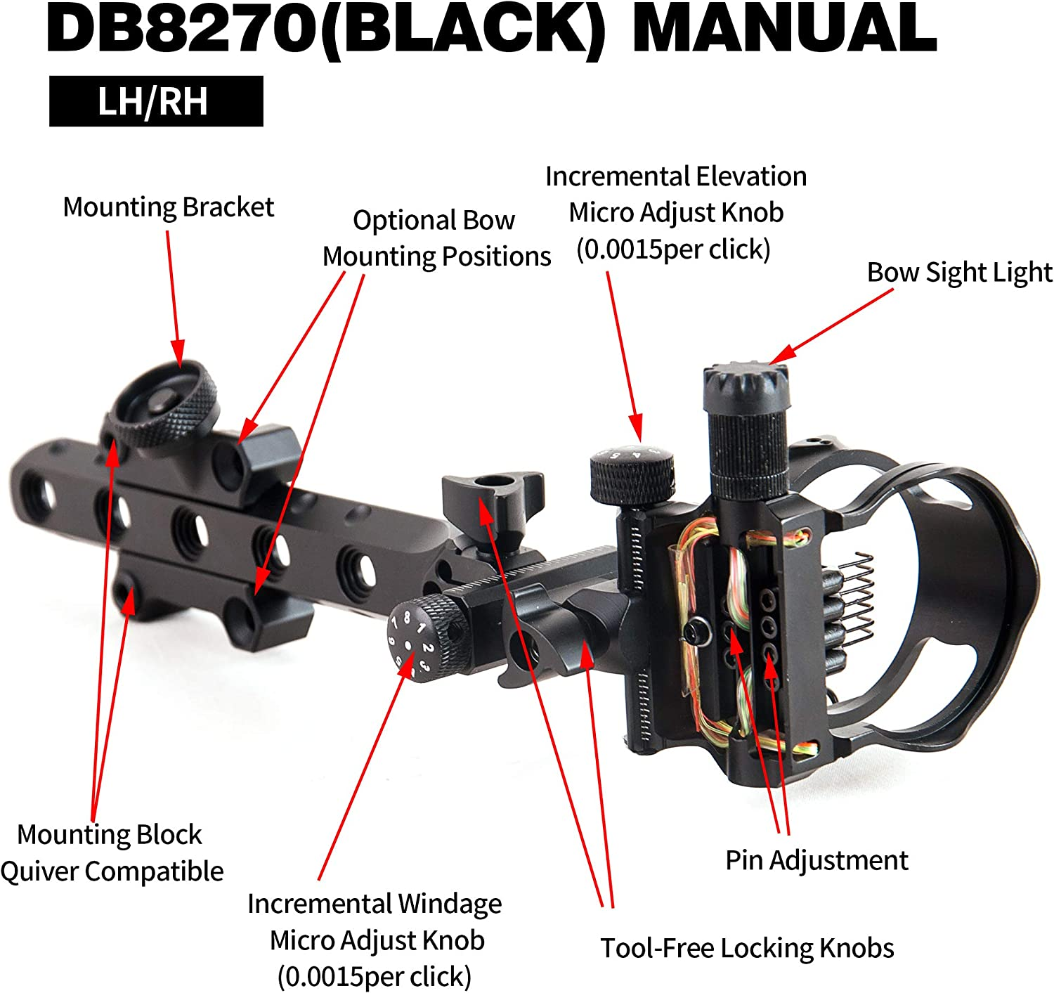 5 Pins//7 Pins Compound Bow Sight .019 Tool-Less Bow Sight with Micro Adjust Detachable Bracket LED Sight Light Left and Right Hand
