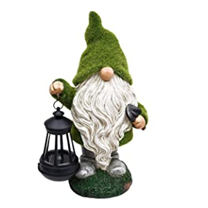 TERESA'S COLLECTIONS Flocked Garden Gnome Statue, Outdoor Resin Statues with Solar Lights, Garden Figurines for Outdoor Home Yard Decor (13 Inch Tall)