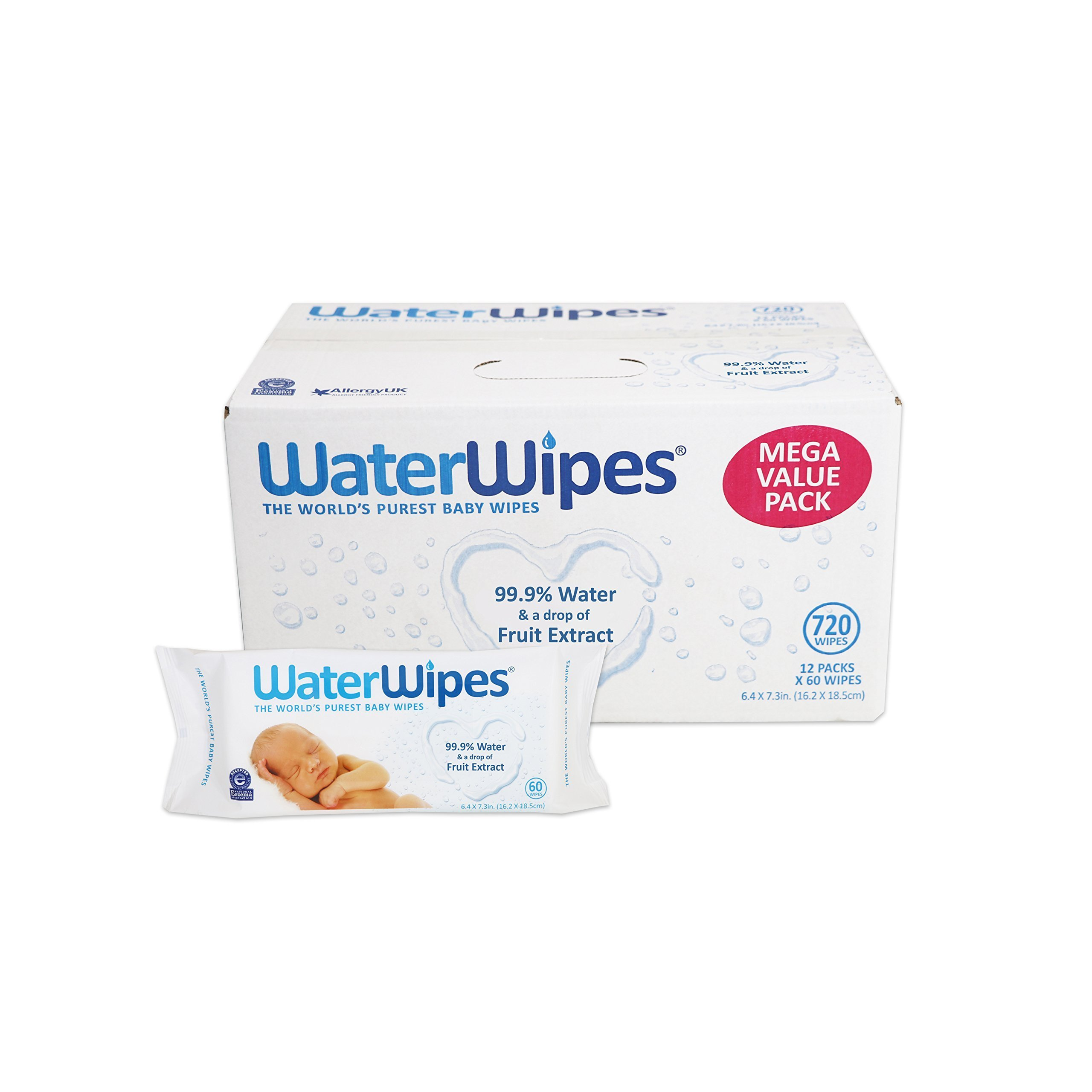 WaterWipes Sensitive Baby Wipes, 60 Count, 12 Packs