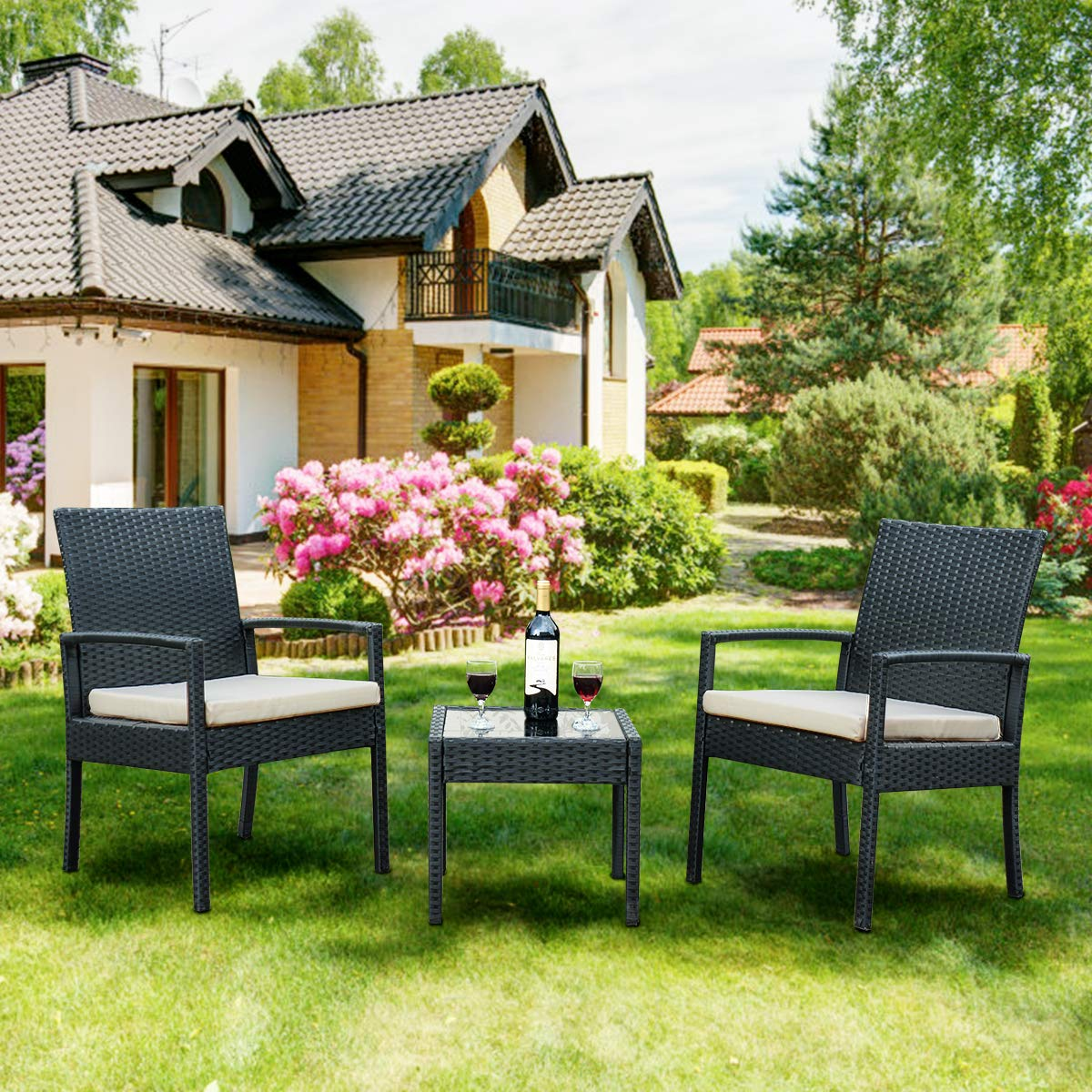 Rattan outdoor patio conversation set with 2 cushioned chairs end table backyard garden lawn chat set chill time modern outdoor furniture black