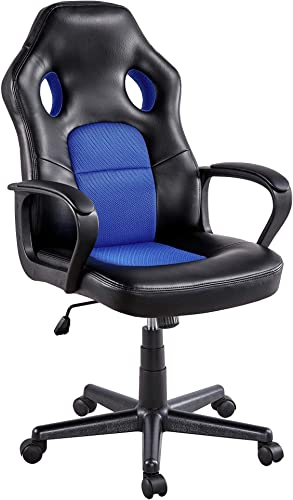 YAHEETECH Video Game Chair High Back Ergonomic Gaming Chair Office Chair Racing Lift Chair Executive Swivel Leather Chair Recliner Blue