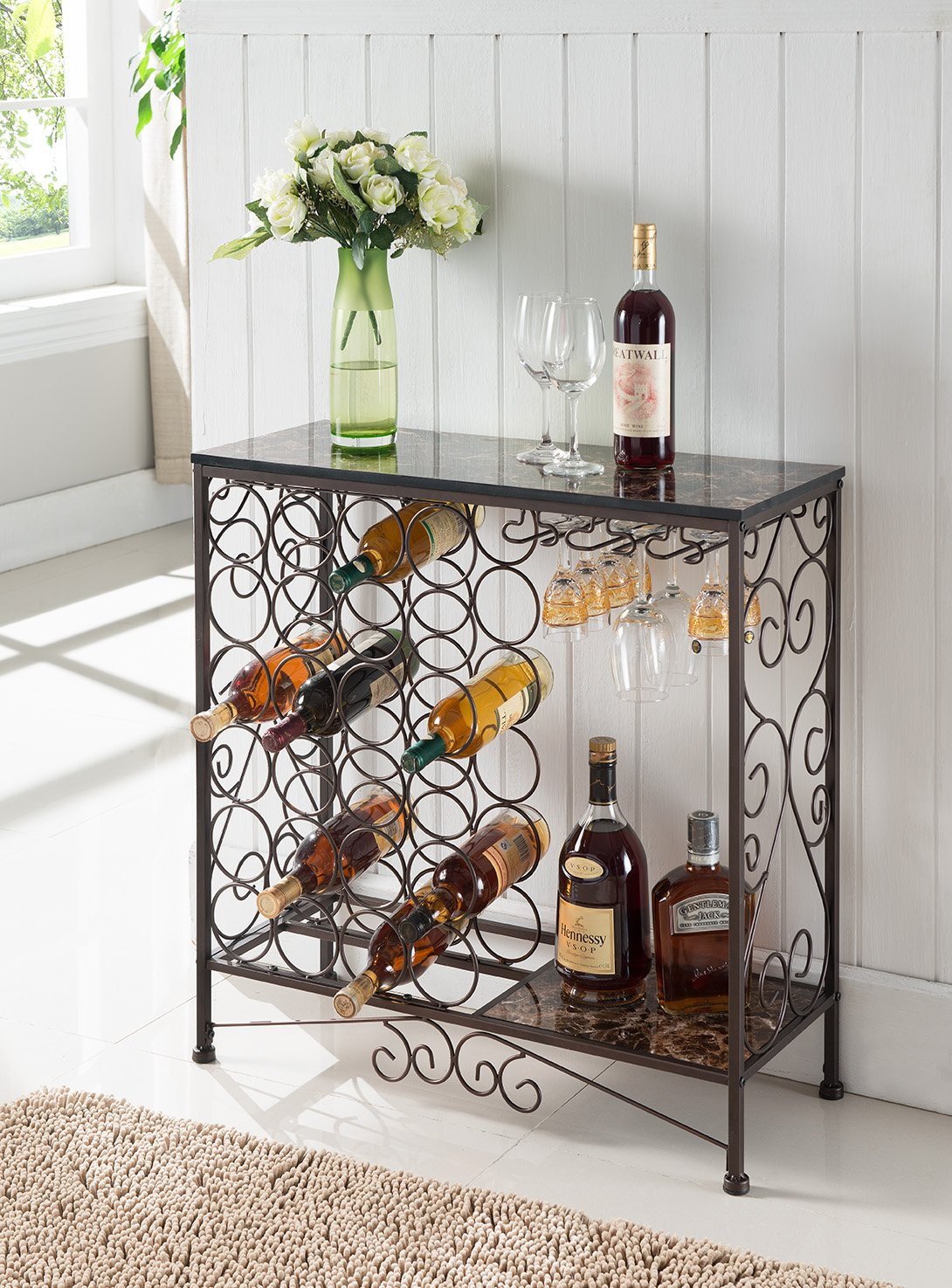 Kings Brand Furniture Metal With Marble Finish Top Console Table With Wine Rack by Kings Brand Furniture
