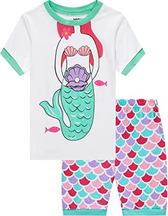 f5d9e52141 Little Girls Mermaid Pajamas Set Children 100% Cotton PJs Toddler Children  Sleepwear Size 2 Years